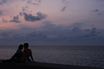 Silhouette of a romantic couple on the beach