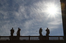 Statues surrounding St. Peter's Basilica in Vatican City