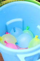 water balloons in a bucket