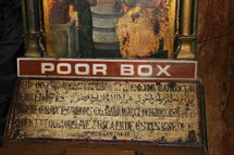 Poor box with Hebrew writing