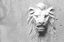 stone carved lion head