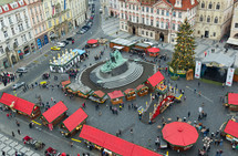 Christmas Marketplace in Prague. Crowds of people on the Old town square.