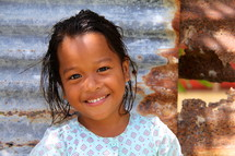 Young Polynesian girl with a big smile
