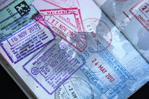 Passports with border crossing stamps