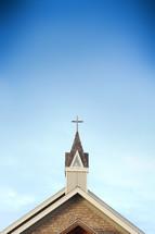 church steeple in a blue sky