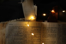 fairy lights on the pages of a Bible