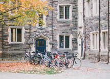 bikes parked on campus