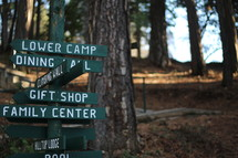 camp direction signs