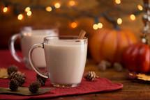 Pumpkin Pie Spiced Latte in a Clear Glass Mug
