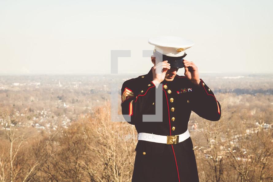 a marine in dress blues