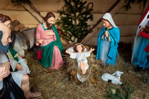 Nativity scene with statues. Munich, Bavaria, Germany