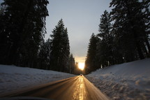 Ice covered road in the wilderness