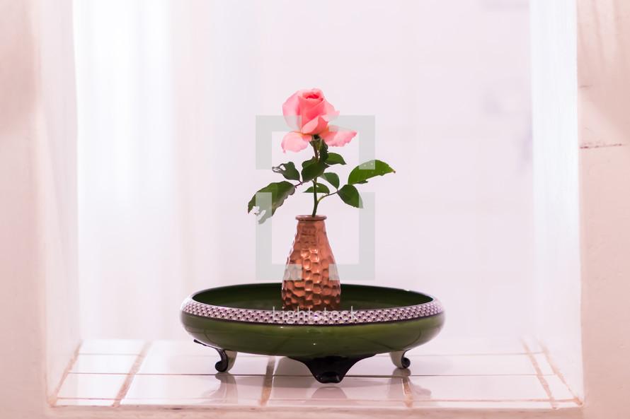 single pink rose in a vase