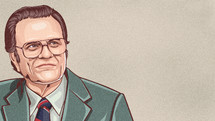illustration of the Reverend Billy Graham with copy space
