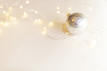 silver ornaments and fairy lights