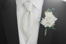 Groom Tuxedo and Boutonniere close-up, wedding style
