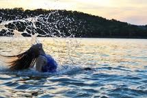 splashing in water
