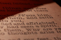 Very close macro shot of an old page of a bible, yellowed over time.