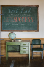 Work hard in silence let success be your noise written on a chalkboard