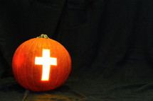 Light of the World Pumpkin with Cross of Jesus
