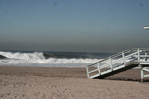large waves and a lifeguard stand ramp