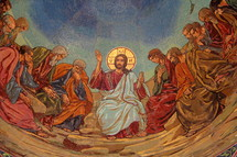 Mosaic of Jesus giving the Farewell Discourse (John 14-17) to his disciples, after the Last Supper.