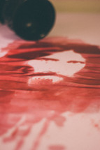 painting of Jesus made out of wine