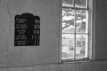 attendance board on a church wall