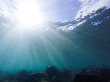 sunbeams under water