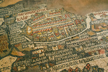 Mosaic map from the 6th century of Jerusalem and the Holy Land in Madaba, Jordan