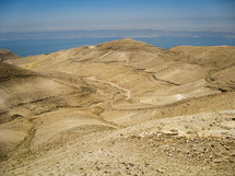 View of the Dead Sea and the Holy Land from Jordan