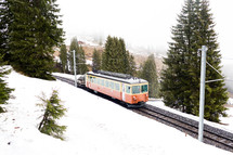 electric rails in snow in Switzerland