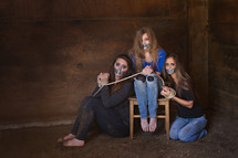 teen girls duct taped and bound in ropes