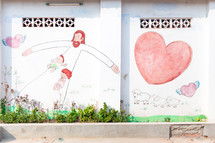 A wall in a slum area situated in the city of Phnom Penh, Cambodia.