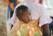 infant in a papoose in Rwanda