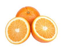 Orange halves and a whole orange.