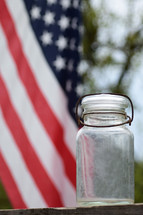 empty jar and American flag