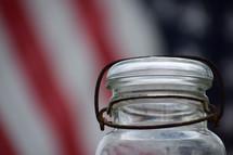 empty jar and American flag