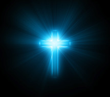 glowing blue cross