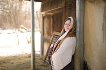 pregnant Mary in a stable