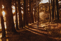a girl in a coat walking on a path in a forest