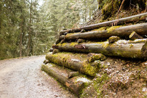 logs supporting ground along a gravel road