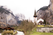 a rural church in the mountains of Switzerland