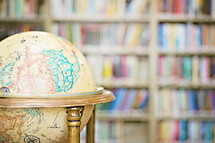 World globe in a library.