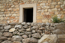 Door in stone wall