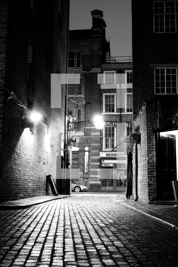 brick street in a city alley