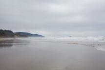 Wet beach.