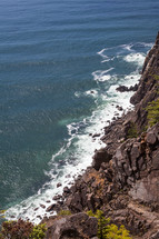 Aerial view of the ocean shoreline.