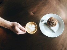 cappuccino and muffin on a plate