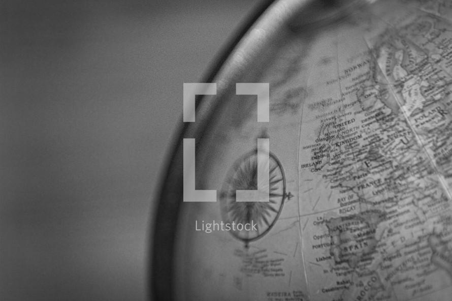 compass on a globe